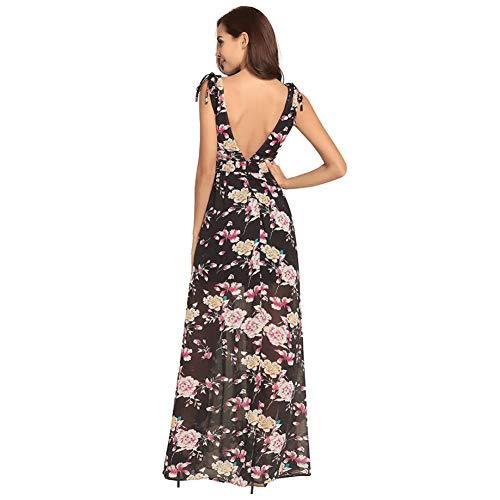 S Boho Ausschnitt Backless Langes Multicolorfloralblack3 V Ärmelloses Wrap Kleid Frauen Floral Tiefem Chiffon 7Snq6w1