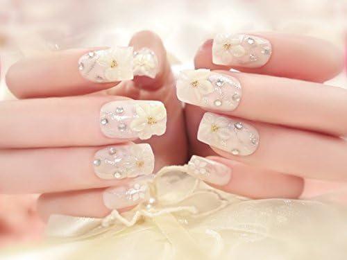 jovono Brides falso Tips Uñas francés flores uñas postizas (24 pcs ...