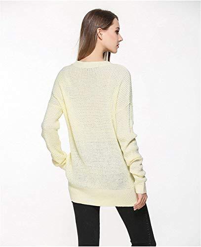 Unicolore Printemps Rond Jumper Fashion Pulli Large Haut Automne Fille Femme Longue Shirt Manche V Pull Col RFY8q5wO