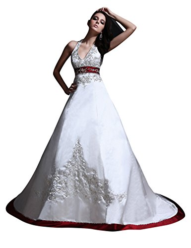 JOLLY BRIDAL Satin Embroidered Halter Style Wedding Dress, Ivory, Size 26W