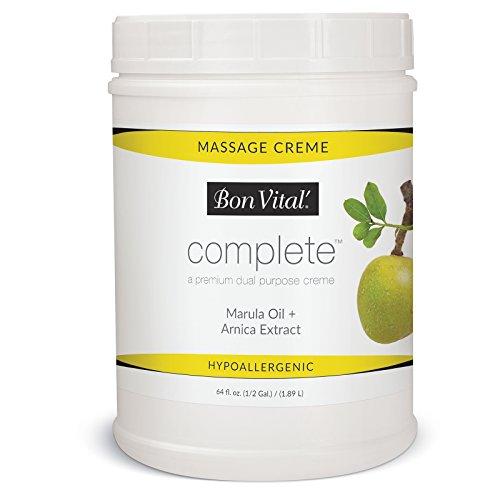 Bon Vital Complete Massage Creme, Premium Dual Purpose Cream for Hypoallergenic Professional Massages, Non Greasy Unscented Moisturizer Made with Marula, Olive, Avocado, Jojoba Oil, 1/2 Gallon