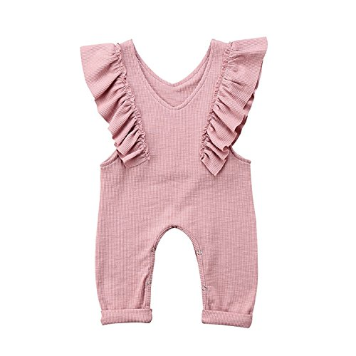 Unmega Baby Girl Sleeveless Ruffle Jumpsuit Long Pants Overall One Piece Bodysuit (Pink, 90/12-18 Months)