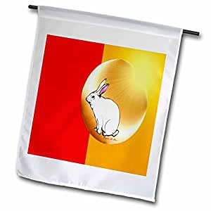 SmudgeArt Chinese New Year Designs - HARE IN A BUBBLE - RED - GOLD - 18 x 27 inch Garden Flag (fl_6535_2)