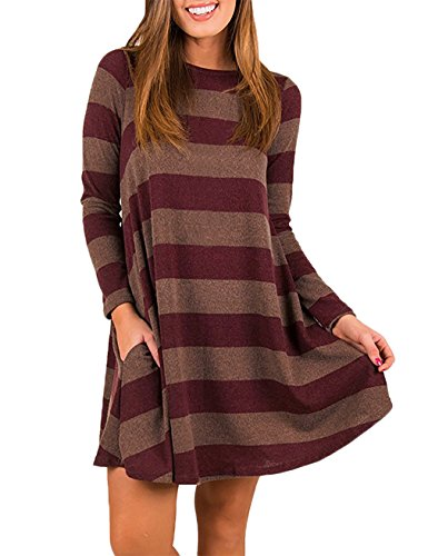 EMVANV Women's Casual Loose Long Sleeve Plaid T Shirt Dress with Pockets (XX-Large, Red Brown)