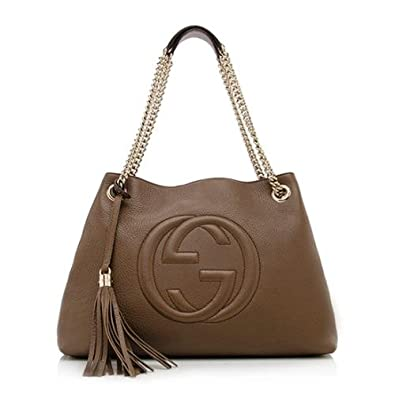 a35456e1772b Gucci Soho Leather Shoulder Bag Dark Brown Cuir Gold Chain Handbag New Italy