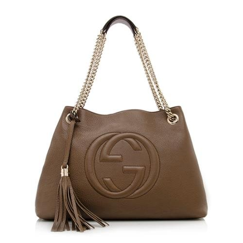 Gucci-Soho-Leather-Shoulder-Bag-Dark-Brown-Cuir-Gold-Chain-Handbag-New-Italy