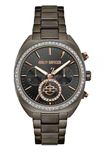Harley-Davidson Womens B&S Crystal Bezel Chronograph Gunmetal Stainless Steel Watch