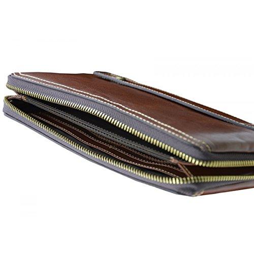 Uomo Italy Borsa Unisex Toscana Colore Pelletteria Clutch Marrone Pelle In Made In Vera FxPCq7