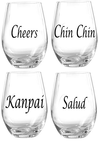 Circleware Charm Stemless Wine Glasses with Celebration s...