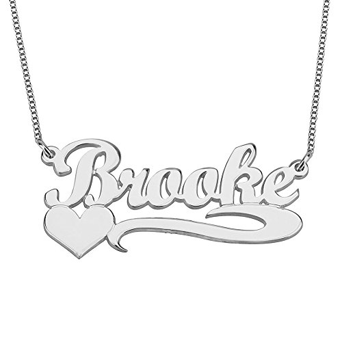 HACOOL Solid 925 Sterling Silver Personalized Heart and Line Name Necklace Custom Made with Any Name (Silver) (Personalized Plated Heart Silver)