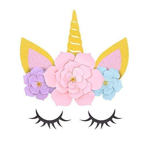 MORDUN Unicorn Party Supplies & Decorations Backdrop For Girls Birthday Party Baby Shower - DIY Unicorn Flower Backdrop with Glitter Giant Horn Ears Eyelashes -