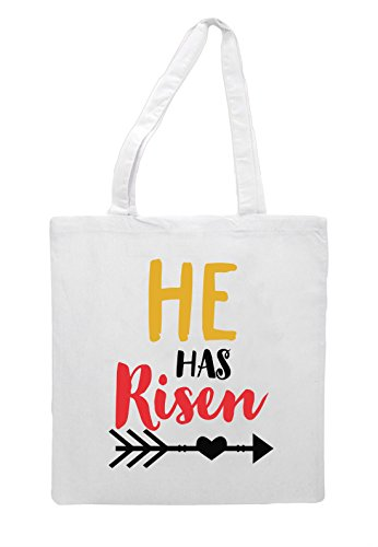 Statement Risen Jesus Shopper Tote Easter Bag Religious White Cute Has He xp6nwqYTE