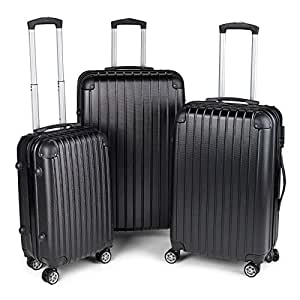 Milano Slim Line Light Weight 3 Piece Set Luggage Set Small Medium Large - Black