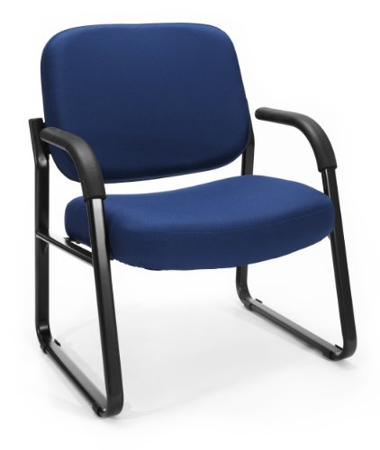 OFM Big and Tall Upholstered Guest / Reception Chair with Arms, Navy