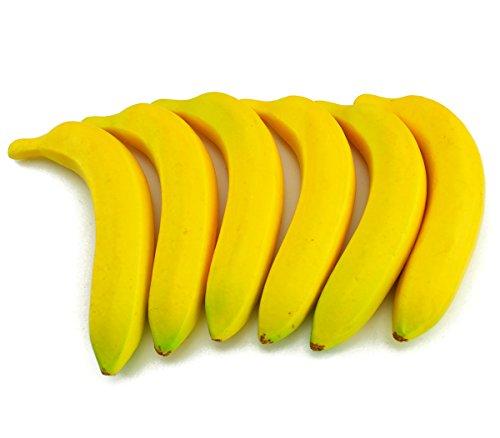 JEDFORE Fake Fruit Home House Kitchen Decoration Artificial Lifelike Simulation Yellow Bananas 6pcs Set