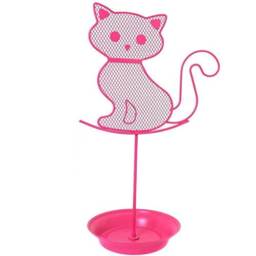 Cute Cat Jewelry Organizer – Pink Earring Jewelry Stand – Dresser Top Jewelry Organizer for Teens – Earring Holder by Bucasi