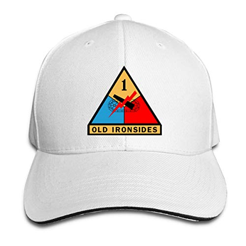 Army 1st Armored Division Adult Cap Unisex Solid Color Duck Tongue Hat Adjustable Baseball Cap White