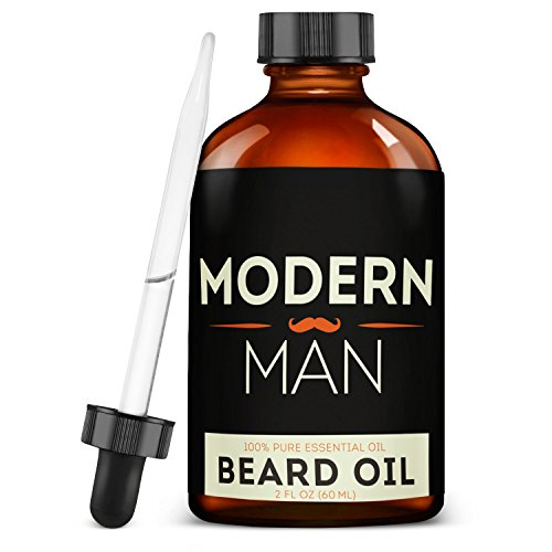 Modern Man Beard Oil and Leave-In Conditioner – 100 Percent Natural Pure Organic – For Beard, Mustache, Goatee and Skin Grooming – Unscented – 2 Ounces