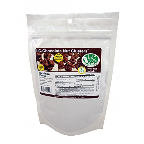 Low Carb Chocolate Nut Cluster Mix - LC Foods - All Natural - Paleo - Gluten Free - No Sugar - Diabetic Friendly - 5.52 oz (Sugar Free Chocolate Almonds)