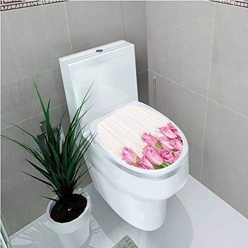 Toilet Custom Sticker,Rose,Valentines Day Celebration Inspired Composition Flowers on Wood Planks Print Decorative,Pink Green Cream,Diversified Design,W11.8