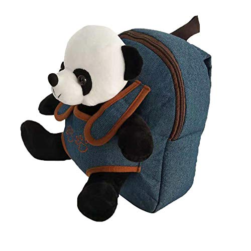 Cute Toy Toddler Backpack - Kids Stuffed Animal Toy Backpack - Kids Backpacks for Boys and Girls with Plush Toy (Denim-Panda)