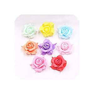 10Pcs/lot Mini PE Rose Artificial Flower Head Handmade Wreath Scrapbook for Wedding Party Home Decoration Craft Fake Flowers 98