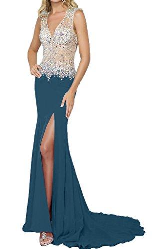 Abendkleid Rueckenfrei Damen Elegant Festkleid Ausschnitt Blaugruen Schlitz V Lang Ivydressing Promkleid Steine Partykleid PdXxwpPq