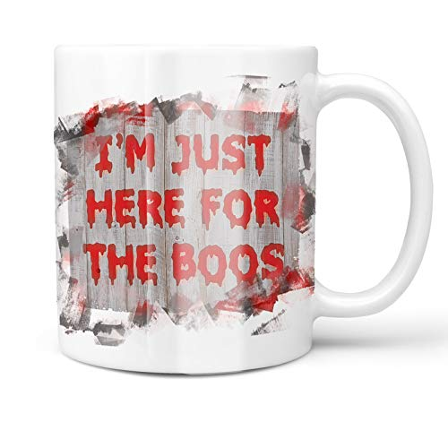 Neonblond 11oz Coffee Mug I'm Just Here For the Boos Halloween Bloody Wall with your Custom Name]()