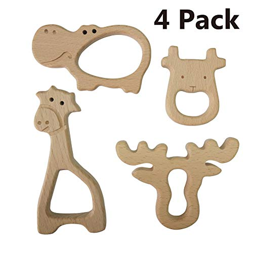 - Large Wood Teething Toys for Infant - Natura Wooden Teether Rings by Hombae, Wooden Teether Animals for Toddler, Soothing Pain Relief Toys, Baby Shower Gift (Giraffe, Cow, Hippo, Deer, 4Pack)