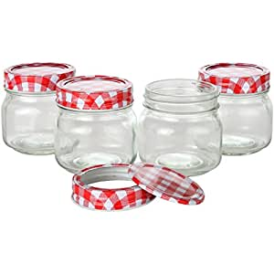 Lily's Home® Glass Mason Jars, Jelly Jars, Storage Mason Jars with Lids and Bands. Pack of 4 (8  Ounce)