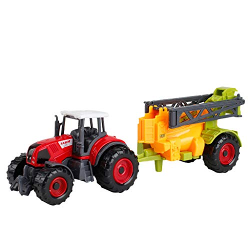Aobiny Pull Back Vehicles, Engineering Tractor Tank Trailer Education Puzzle Vehicle Toy and Race Car Toy, Farm Car Model for Kids Toddlers Boys Child, Pull Back and Go Car Toy Play Set (C) ()