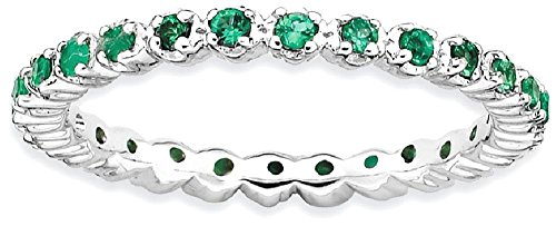 ICE CARATS 925 Sterling Silver Created Green Emerald Band Ring Size 9.00 Stone Stackable Gemstone Birthstone May Fine Jewelry Gift For Women Heart by ICE CARATS