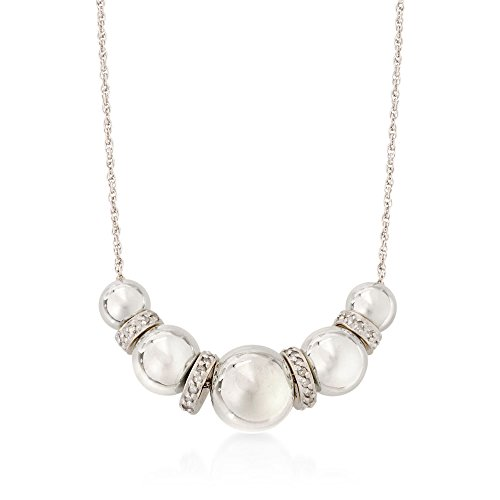 Ross-Simons 6-10mm Sterling Silver Bead Necklace With .20 ct. t.w. Diamonds ()