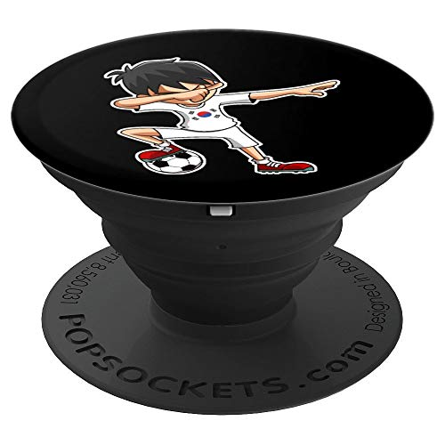 Dabbing Soccer Boy South Korea Jersey, Korean Kids Dab Gifts - PopSockets Grip and Stand for Phones and Tablets ()