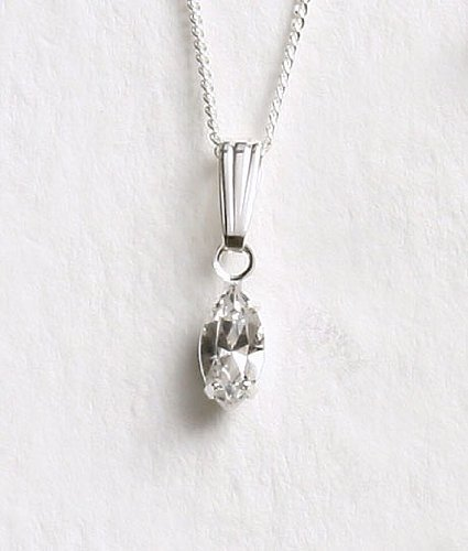 LJ Designs Diamante Single Navette Pendant - Silver Plated - Made With Crystals From Swarovski