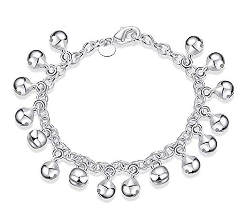 Aimys 925 Sterling Silver Adjustable Bells Chain Bracelet/Anklet for Women Girls Gift Jingle Bells Bead Charm Bracelet Lady Jewelry