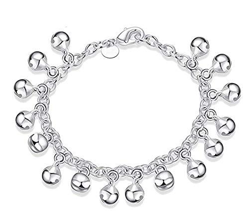 (Aimys 925 Sterling Silver Adjustable Bells Chain Bracelet/Anklet for Women Girls Gift Jingle Bells Bead Charm Bracelet Lady Jewelry)