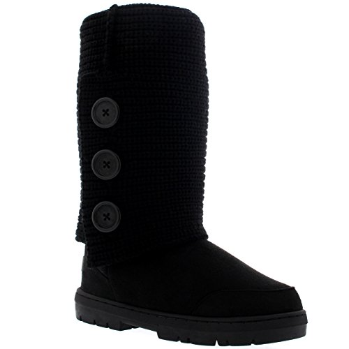 Womens 3 Button Knitted Cardy Snow Rain Flat Winter Boots Black Knitted iwLO9gi