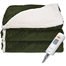 Sunbeam Reversible Sherpa/Mink Heated Throw Blanket with EliteStyle II Controller, Premium Soft Super Warm Plush Electric Throw Blanket, Olive Green