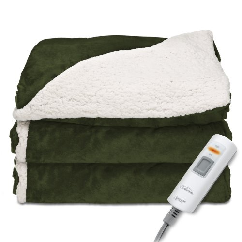 Sunbeam Heated Throw Blanket | Reversible Sherpa/Royal Mink, 3 Heat Settings, Olive (Best Electric Throw Reviews)