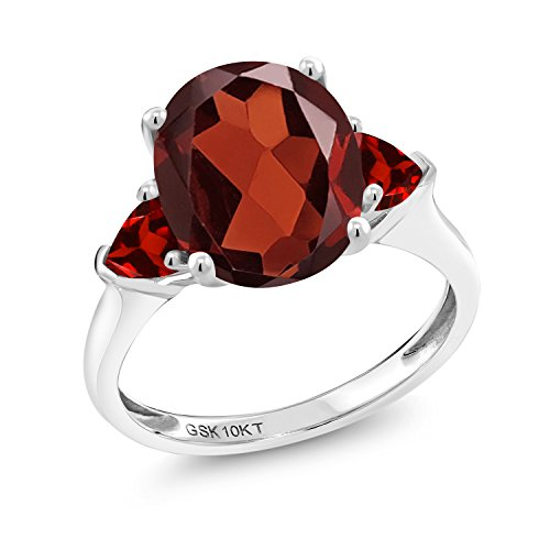 (Gem Stone King 10K White Gold Red Garnet 3-Stone Women's Engagement Ring 4.28 cttw Oval Available in size 5, 6, 7, 8, 9)