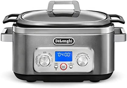 De Longhi Livenza 7-in-1 Multi-Cooker Programmable SlowCooker, Bake, Brown, Saute, Rice, Steamer Warmer, Easy to Use and Clean, Nonstick Dishwasher Safe Pot, 6-Quart , CKM1641D