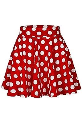 Vemubapis Women's Lovely Polka Dots Skater Skirt Vintage Pleated Skirts
