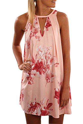 Tuesdays2 Women's Round Neck Sleeveless Floral Print Loose Chiffon Mini Dress (XL/US10) (Sleeveless Beach Dress)