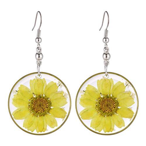 FM FM42 Multi-Colored Pressed Yellow Daisy & White Queen Anne's Lace Flowers 1.14