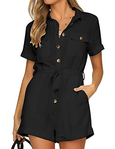 Shorts Black White Coral - GRAPENT Women's Black Casual Short Sleeves Button Down Pocket Belted Jumpsuits Rompers Size Small (Fits US 4-6)