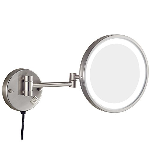 GURUN 8.5-Inch Adjustable LED Lighted Wall Mount Makeup Mirror with 7x Magnification, Brushed Nickel Finish With Plug M1807DN