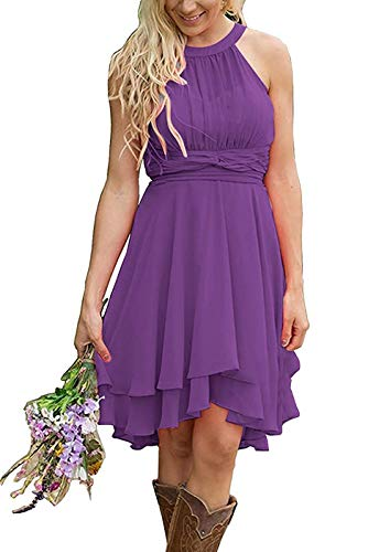 (Meledy Women's Halter Full-Back Chiffon Plus Size High Low Formal Evening Party Gown Country Bridesmaid Dresses Light Purple US22)