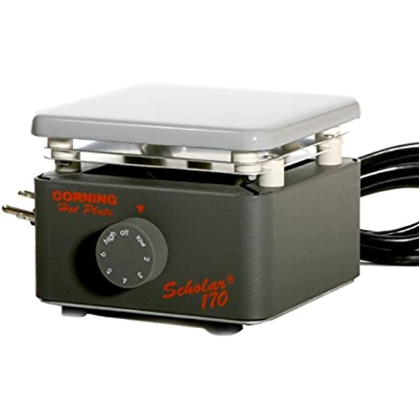 120V//60Hz 25 to 550 Degree C Corning 6795-200 PC-200 Hot Plate with 4 x 5 Pyroceram Top 4.4 Length x 5.8 Width x 7.3 Height