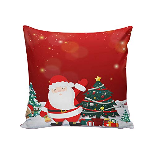 T&H Home Comfortable Throw Pillow Cover for Bedding, Decorative Accent Cushion Sham Case for Couch Sofa, Soft Solid Satin with Zipper Hidden - 18x18 in, Christmas Eve Santa Claus Xmas Tree Reindeer (Chicago Bears Santa Pillow)